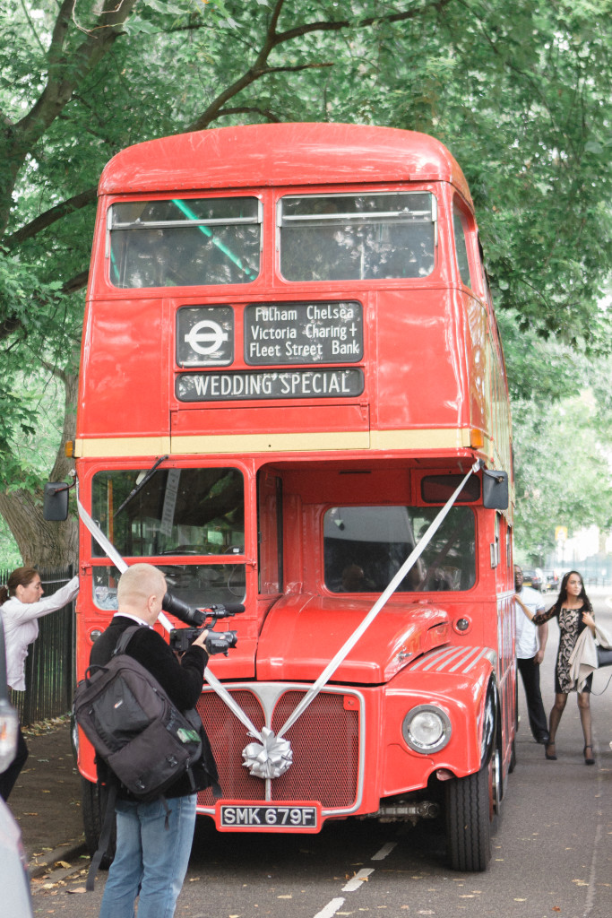 London bus which was hired to take all the invited people to the venue.